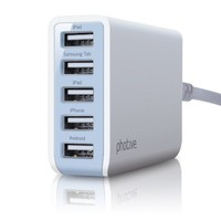 Photive 25 Watt 5 Port USB Desktop Rapid Charger. Multiport USB Charging Station