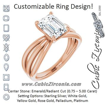 Cubic Zirconia Engagement Ring- The Maha (Customizable Radiant Cut Solitaire Design with Wide, Ribboned Split-band)