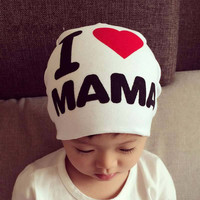 1 Pcs Cute Warm Baby Hat I LOVE MAMA/PAPA Knitted Cotton Beanie Cap for Baby Toddler Boy and Girls