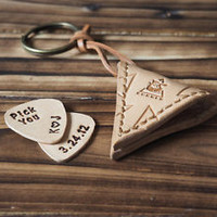 Handmade Leather Guitar Pick Holder triangle pattern Personalized gifts#Nude