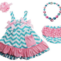 Pink & Blue Chevron Print Swing Top Set with Ruffled Bloomers