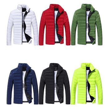 LINRAOQIAN Fashion Candy Color Jacket Men Clothes Solid Stand Collar Mens Jackets Coat Korean Slim Fit Bomber Jacket Windbreaker