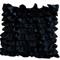 Home Decor Black Satin Flirty Ruffles Pillow Case For Couch Or Bedding