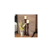 Flipo Pacific Accents Hartford Wood Pedestal Candlestick