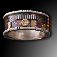 Butano Ring with Diamond by Lynda Bahr: Gold Silver Stone Ring   Artful Home