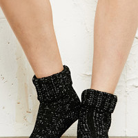 Cable Knit Metallic Slipper Socks at Urban Outfitters