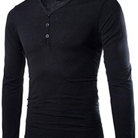 jeansian Men's Casual V-Neck Long Sleeves T-shirts Tees Tops D620