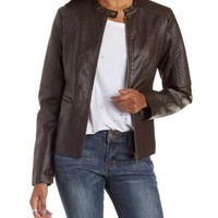Brown Quilted Faux Leather Moto Jacket by Charlotte Russe