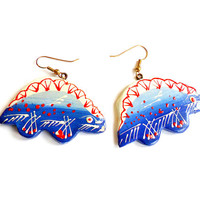 Vintage Blue Red Dinosaur Earrings - Hand Painted - Thailand Painted Earrings - French Wire Pierced - Deadstock NWOT - Unique Wood Earrings