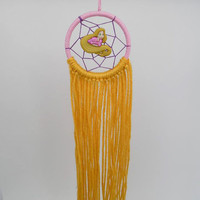 Disney Tangled inspired Rapunzel dreamcatcher-extra small with golden yarn hair