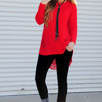 Hanging By A Thread Sweater: Red
