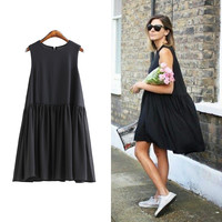 [TWOTWINSTYLE] Original 2016 Summer Solid Color Vest A-Line Dress Pleated Hem Spliced Women Sleeveless Loose One Size New
