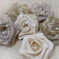 Set of 6 Rustic Shabby Chic Flowers for weddings, bouquet making, wedding decor, diy weddings. Made to Order.
