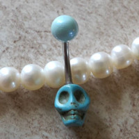 Turquoise Skull belly Button Navel Ring Body Jewelry