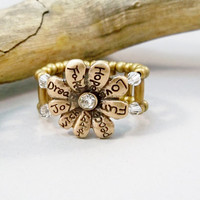 Crystal and Antique Bronze Stretch Ring, Crystal Cocktail Ring, Stretch Band Ring, Handmade Ring, Womens Jewelry, Stretchy Band Ring