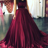 Burgundy Long Ball Gown Velvet Prom Dress