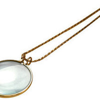 """Gift Idea 5X Necklace Magnifier 2"""" Glass Lens 36"""" Gold Chain MONOCLE SPECTACLE"""
