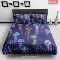 Art Jellyfish in Deep Blue Sea Bedding Sets Home Gift Home & Living Wedding Gifts Wedding Idea Twin Full Queen King Quilt Cover Duvet Cover Flat Sheet Pillowcase Pillow Cover 058