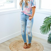 KanCan Alyssa Light Wash Distressed Jeans