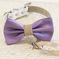 Lavender and burlap Dog Bow Tie ring bearer, Pet Burlap Wedding, Proposal