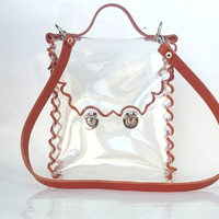 Crossbody bag Genuine Leather Strap Clear See Through Plastic PVC Vinyl Transparent Bag, country style Shoulder TSA NFL Security rustic Bag