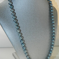 Vintage Blue Gray Glass Faux Pearl Single Strand Beaded Necklace Jewelry Jewellery