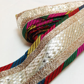 Multi Color Gota Ribbon - Gota Patti Ribbon - Gota Border in Magenta, Yellow, Green and Gold with Silver weaving in the Mid