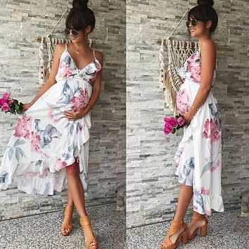 Fashion Womens Mother Casual Floral Falbala Pregnant Dress For Maternity Clothes