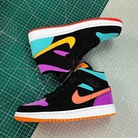 Air Jordan 1 Mid AJ1 colorblock high-top couple sneakers Shoes