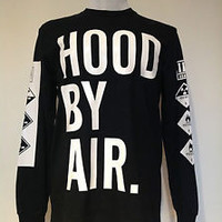 Unisex Hood By Air HBA L/S Logo T-Shirt in Size XL A.W.B Kanye West & Rihanna