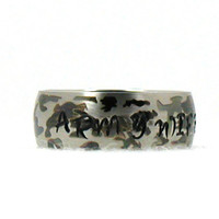 Personalized Camo Ring, Army Ring, Military Ring, Custom Ring, Stainless Steel Ring,  Custom Name Ring, Hand Stamped Ring, Army Wife Jewelry