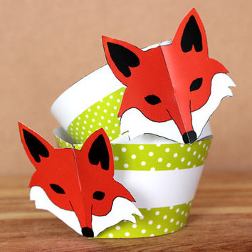 Printable 3D Fox Party Cupcake Set with fox face wrappers and face and tail toppers , lime green polka dot pattern INSTANT DOWNLOAD