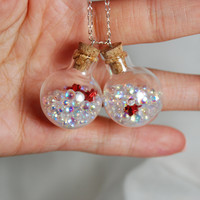 Glass Round Bottle Necklace with Bubbles and Roses by ImageLove
