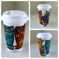 Ceramic Travel Mug Owls Flowers Woodland Hand Painted Eco Cup Coffee Tumbler Botanicals