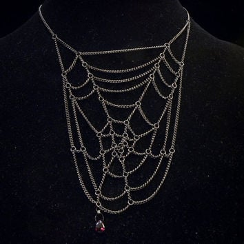 chain spiderweb & blood red garnet teardrop // gunmetal toned chain statement necklace w/ gemstone briolette