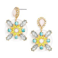 Clear Carousel Drops - Floral Statement Earrings