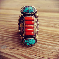 Turquoise rings-Coral precious stone ring.Cocktail rings-Saddle Rings.Silver Rings.Tibet Jewelry.Nepalese Jewelry.Tibet Jewelry.Buddhist