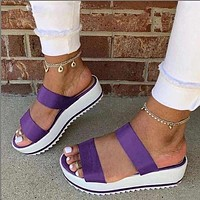Fashion plus size sponge cake wedges sandals sandals and slippers cross-border women's shoes