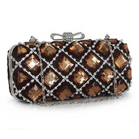 [37.59] In Stock Shining Full Metallic Shell With Crystal Evening Handbags / Clucthes(Coffee Color ) - dressilyme.com