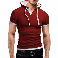 2017 New Men T shirt Hooded Top & Tees Summer T-Shirt Homme Fitness Fashion Classic Brand Clothing Male T Shirt Plus Hat