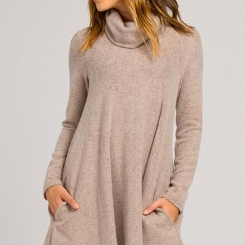 Fall Bliss Turtleneck Dress - Taupe