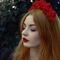 Red Rose Flower Crown, Red  Rose Headband, Red Flower Crown, Flower Crown, Rose Crown, Flower headband, Rose Headband, Festival Crown
