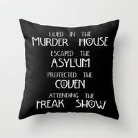 American Horror Story Four Seasons Throw Pillow by Zharaoh