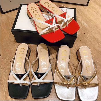 GUCCI Simple style thick heel slippers