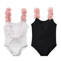 Summer Children Sleeveless Bikini Toddler Baby Girl 3D Floral Backless Swimsuit Kids Girls Swimwear New 2018 Child Bathing Suit