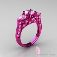 Modern 14K Pink Gold Three Stone Light Pink Sapphire Solitaire Engagement Ring, Wedding Ring R250-14KPGLPS