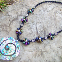 Black Hemp Necklace w/ Abalone/Paua Shell by KnottyandNiceHemp