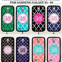 PERSONALIZED COLORS TRELLIS PATTERN MONOGRAM FOR SAMSUNG GALAXY S7 EDGE CASE