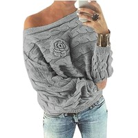 Elegant Rose Knitted women sweaters and pullovers plus size Autumn spring batwing sleeve knitted sweater pullover jumpers