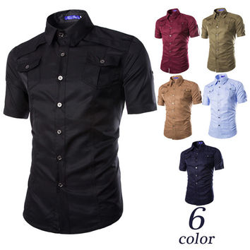 Military Design Short Sleeve Shirt with Pockets
